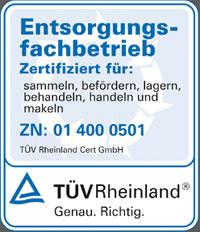 Zertifikat Entsorgungsfachbetrieb TÜV Rheinland für Holzkontor Preussen GmbH